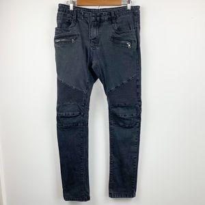 Balmain Moto Jeans - Washed Black 34